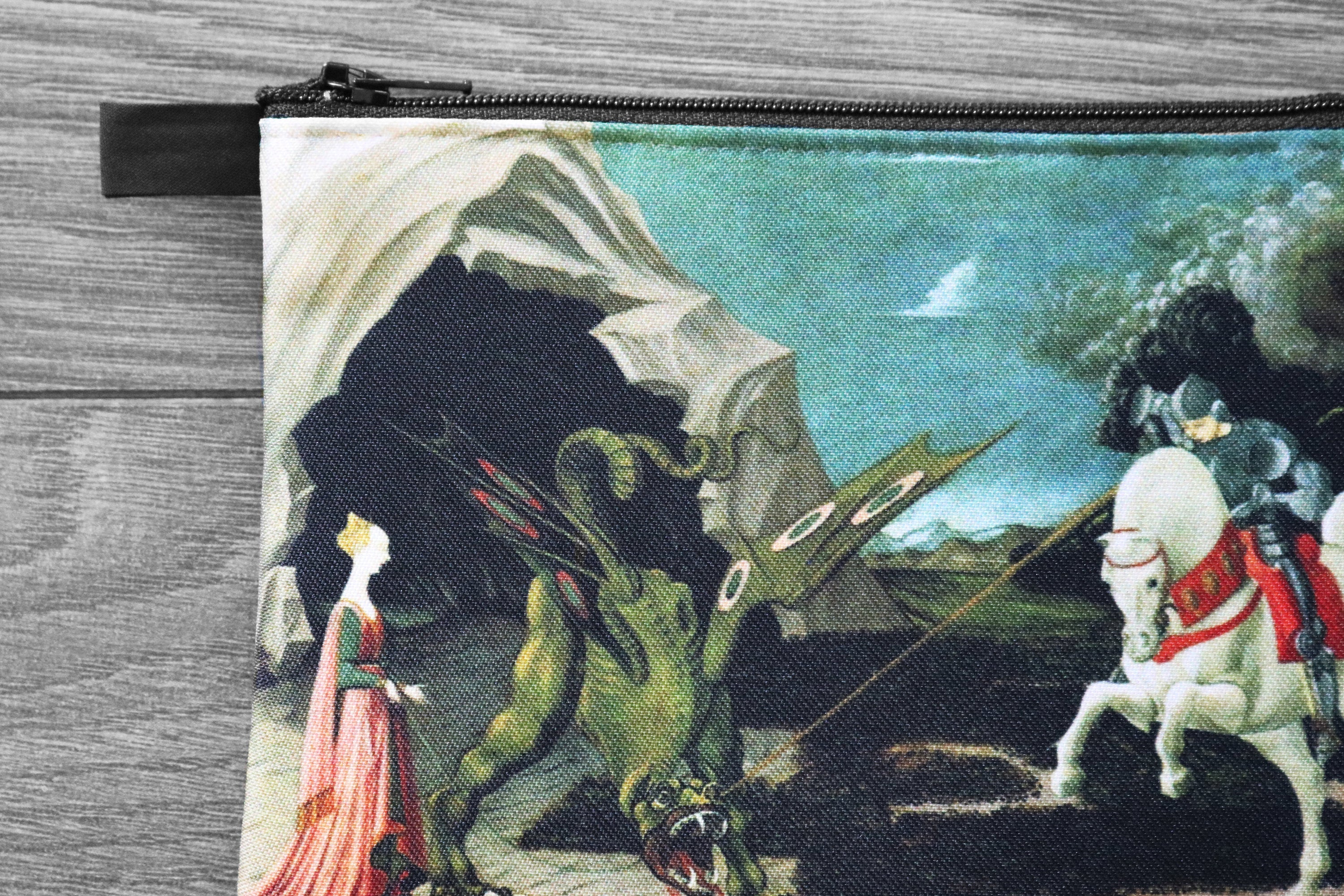 saint george and the dragon - lined twill coin purse - double sided print - paolo uccello, 1470