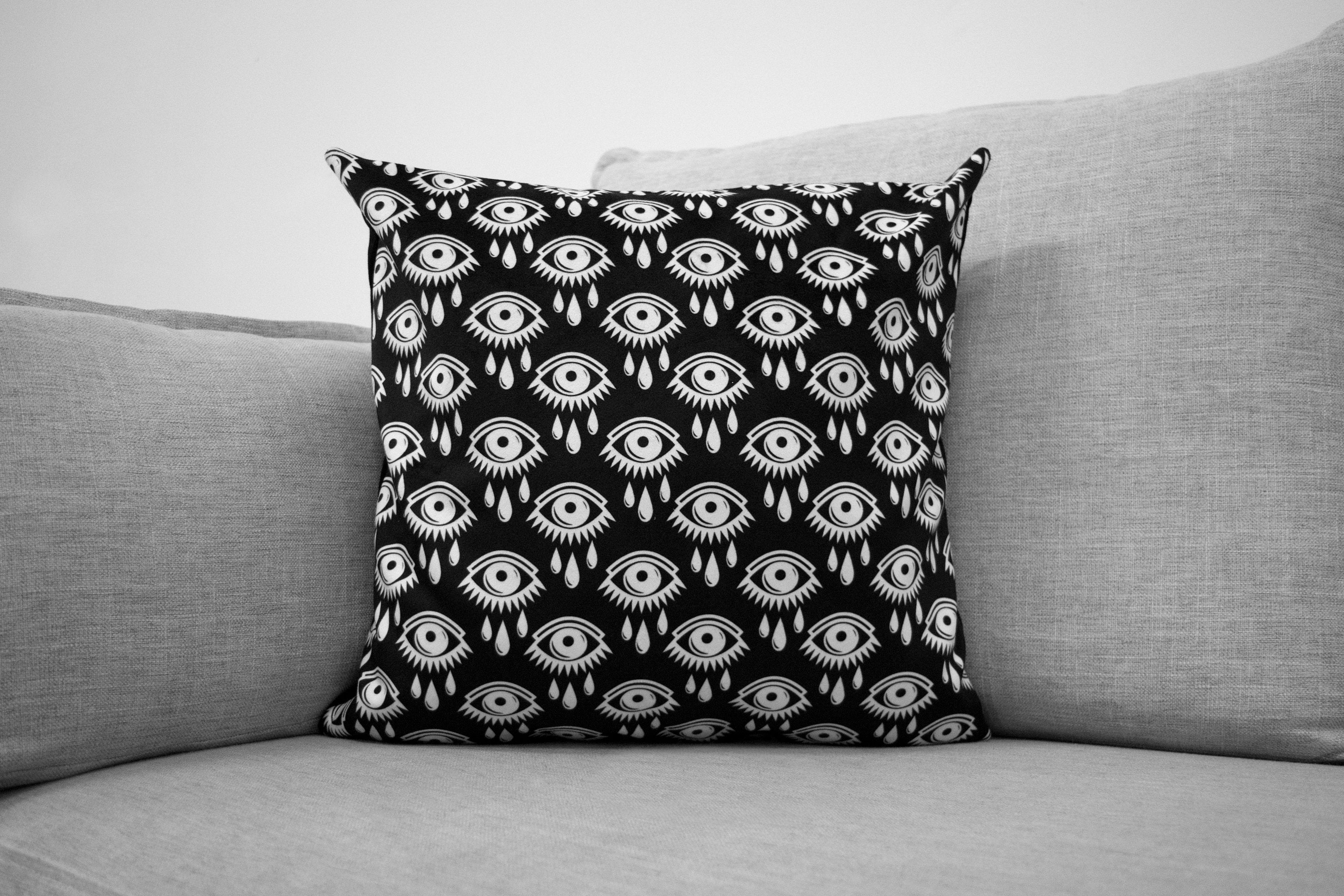 "black and white eye print - 18"" velveteen pillow - all over graphic"