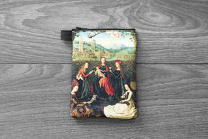 virgin of the rose garden - lined twill coin purse - master of the st. lucy legend, 1480