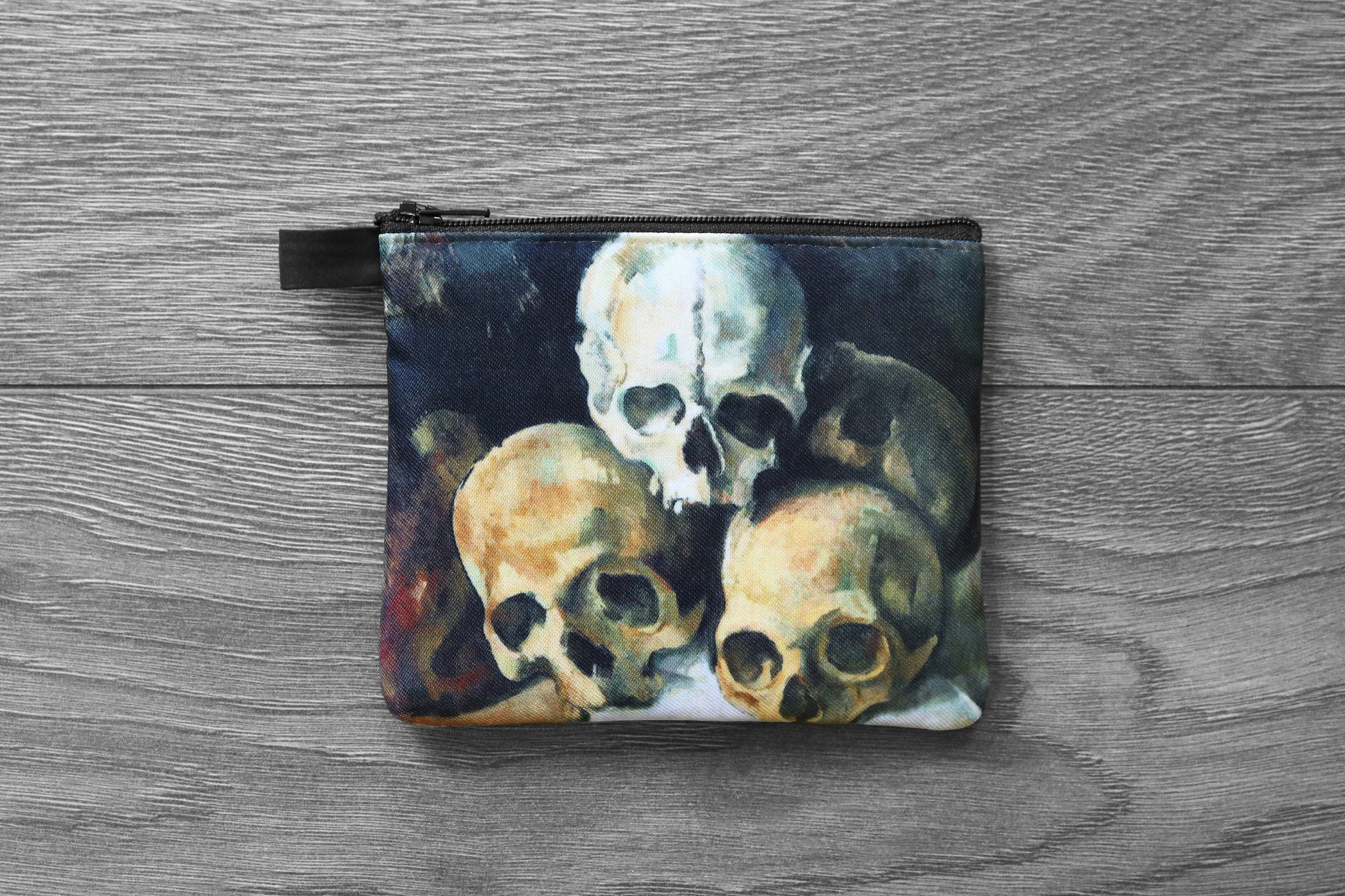 pyramid of skulls - lined twill coin purse - double sided print -  paul cézanne, 1901