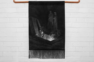 the divine comedy illustration // dante's inferno - medium canvas printed banner // wall hanging with fringe - Gustave Doré, 1892