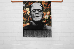 frankenstein's creature // boris karloff - medium canvas printed banner // fringe wall hanging - universal monsters, floral print background
