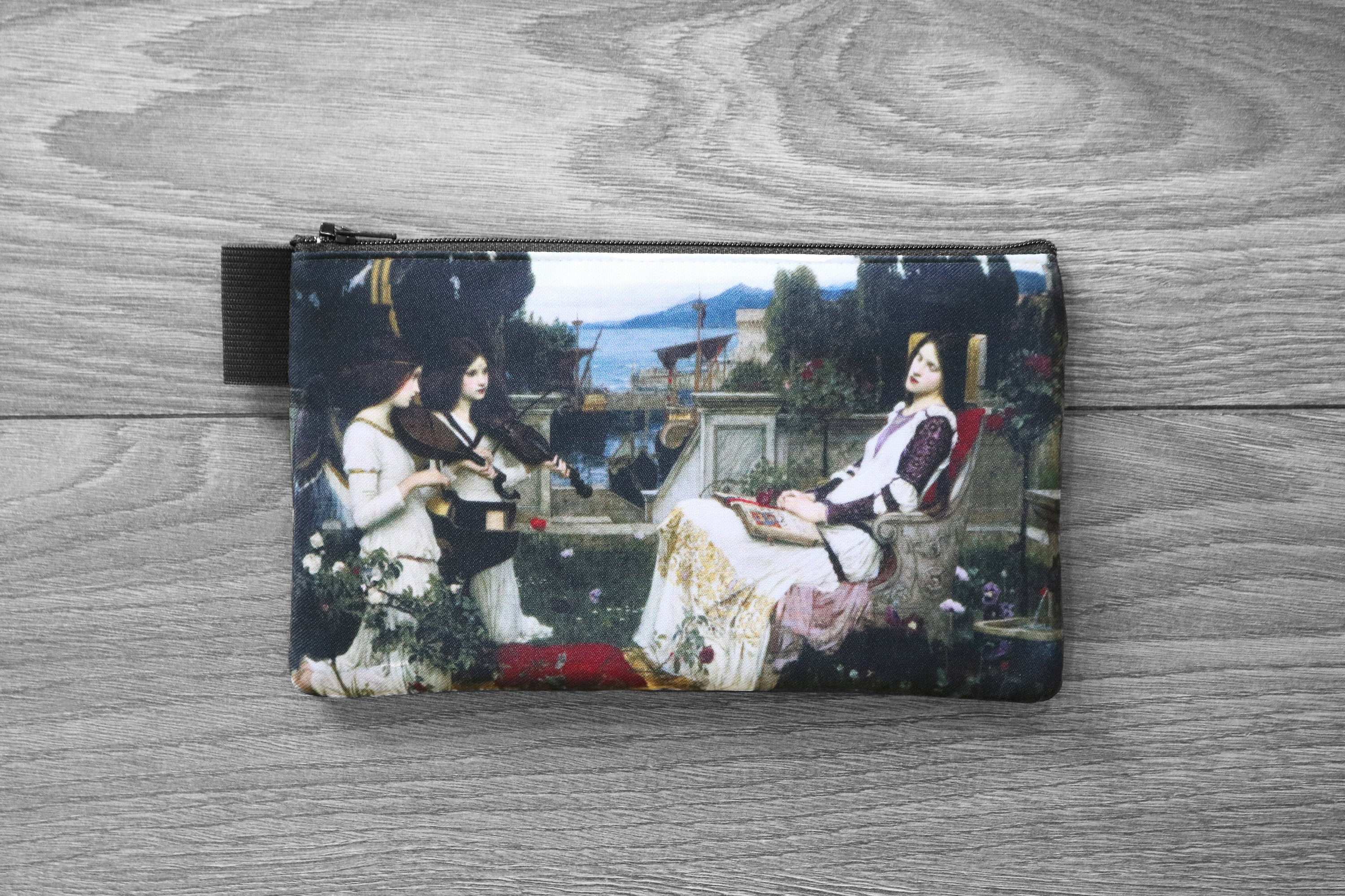 saint cecilia - lined twill pencil case - double sided print - john william waterhouse, 1885