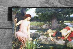 echo and narcissus - lined twill pencil case - double sided print - john william waterhouse, 1905