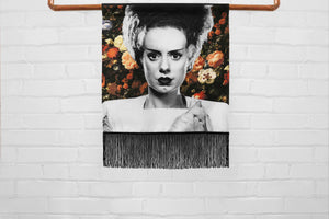 bride of frankenstein // elsa lanchester - medium canvas printed banner // fringe wall hanging - universal monsters, floral print background
