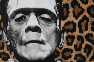frankenstein's creature // boris karloff -  canvas printed banner // fringe wall hanging - universal monsters, leopard print background