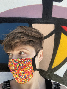sprinkles candy and sweets - pleated face mask // face covering - 2 cotton layers - reusable // washable -  food lovers / color pop