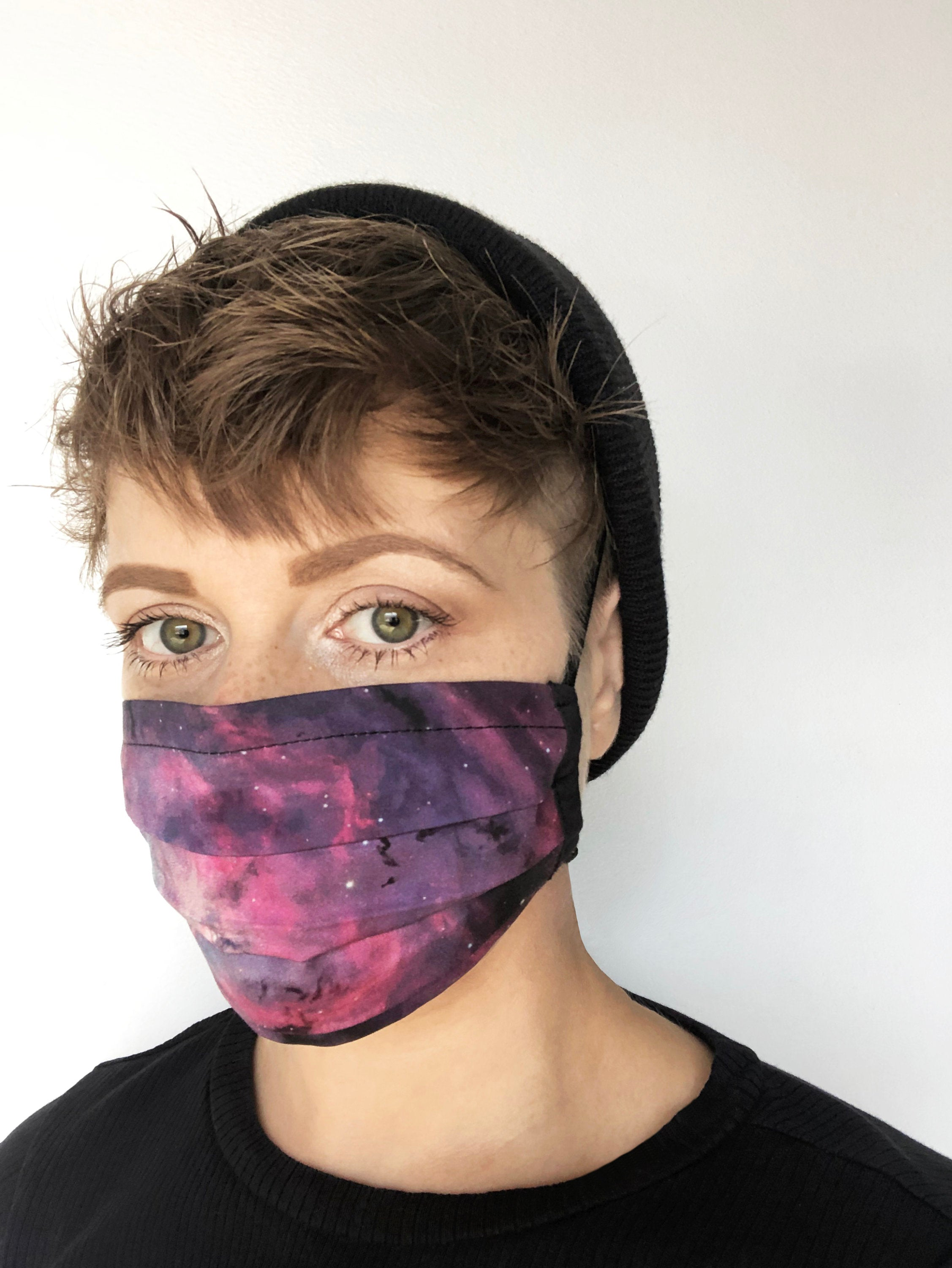 galaxy print - outer space - pleated face mask // face covering - 2 cotton layers - purple and pink - washable and reusable