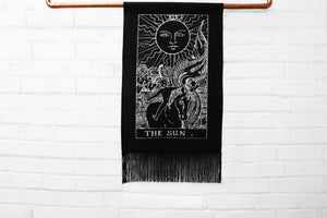 the sun tarot card - medium canvas printed banner // wall hanging with fringe - major arcana tarot card series
