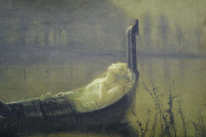 "the lady of shalott- 14"" x 20"" velveteen pillow case -  john atkinson grimshaw, 1875"
