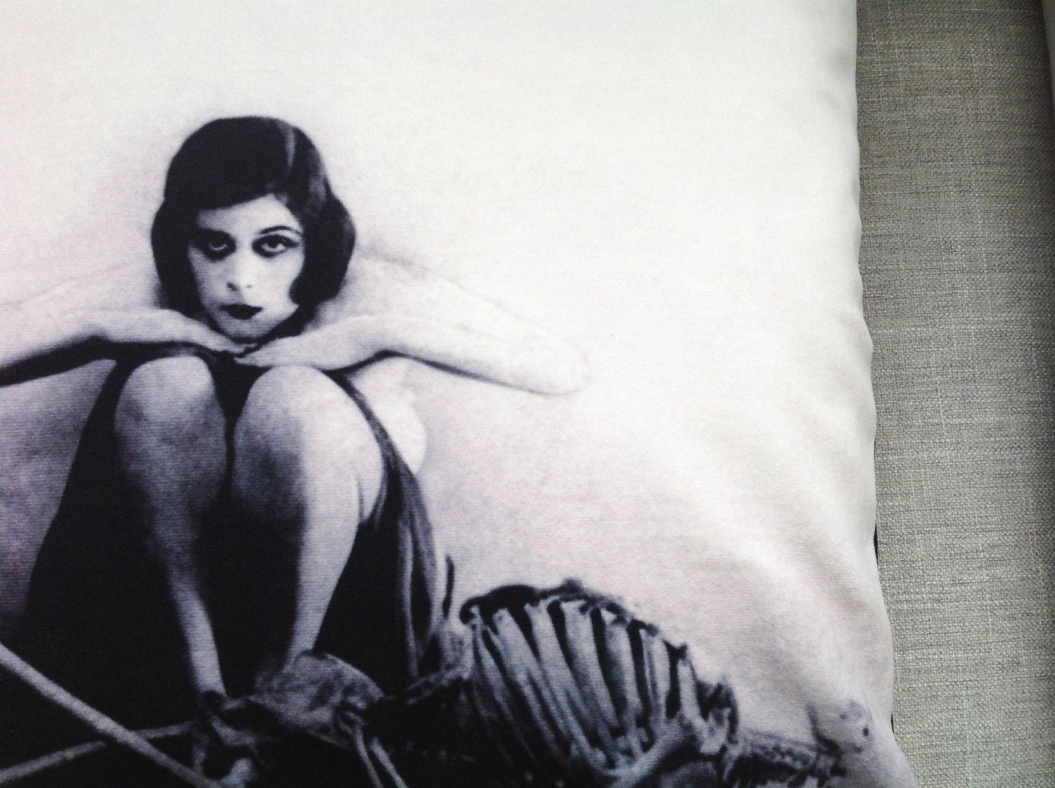 "theda bara -18"" velveteen pillow case - the vamp"