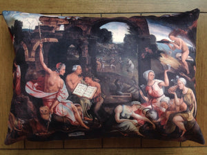 "saul and the witches of endor - 14"" x 20"" velveteen pillow case - jacob cornelisz van oostsanen, 1526"