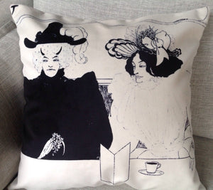 "aubrey beardsley illustration - 18"" velveteen pillow case - black coffee"