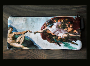 the creation of adam - sistine chapel - lined velveteen pencil case- michelangelo, 1512