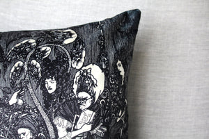 "aubrey beardsley illustration - 18"" velveteen pillow case - the cave of spleen"