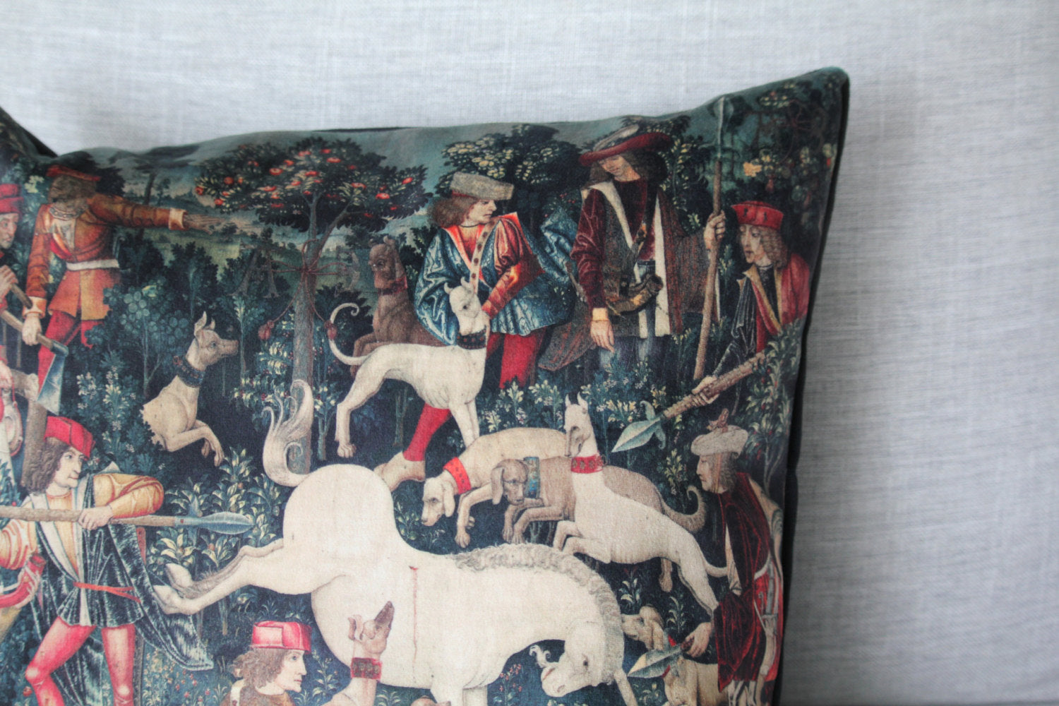 "the unicorn defends himself - 18"" velveteen pillow - unicorn tapestries, 1495 - 1505"