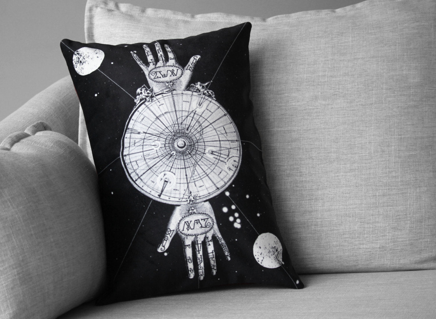 "sacred geometry // palmistry // alchemy art - 14"" x 20"" velveteen pillow case - vintage map"