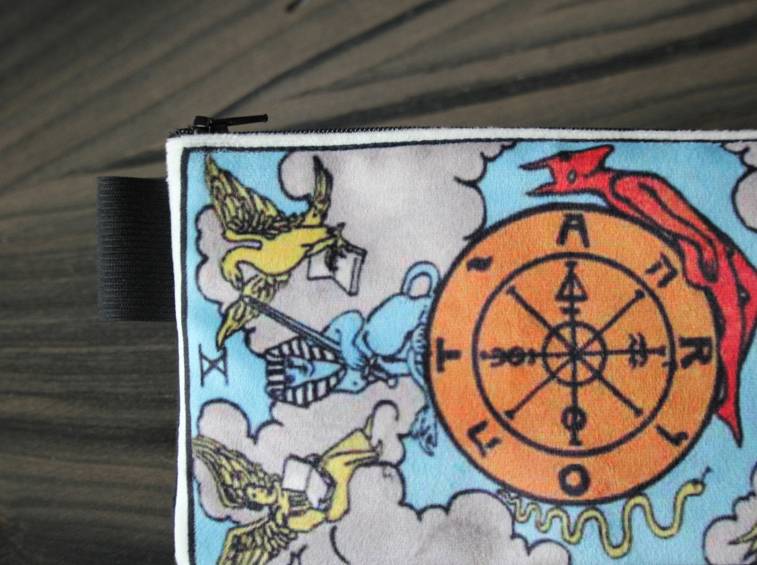 wheel of fortune - lined velveteen pencil case - major arcana tarot card series
