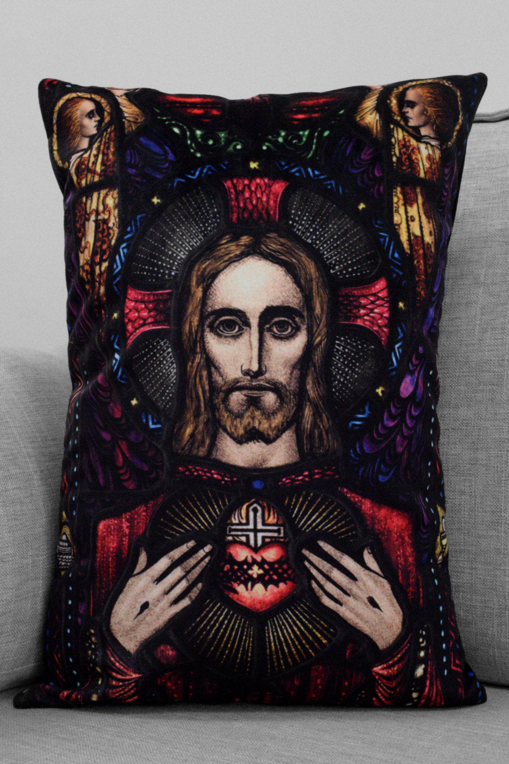"the apparition of the sacred heart - 14"" x 20"" velveteen pillow case - harry clarke stained glass panel"