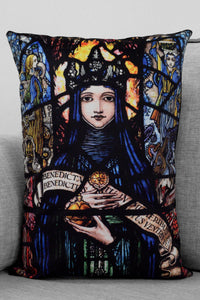 "holy mary - 14"" x 20"" velveteen pillow case - harry clarke stained glass panel"