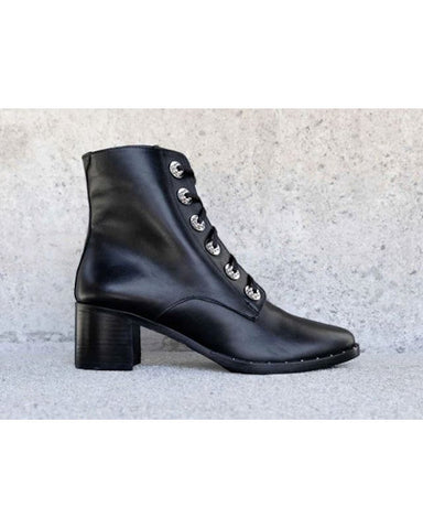 Ace Lace Up Combat Boot Black
