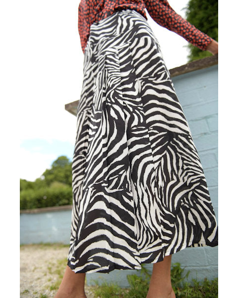 Nancy Zebra Mono Midaxi Skirt