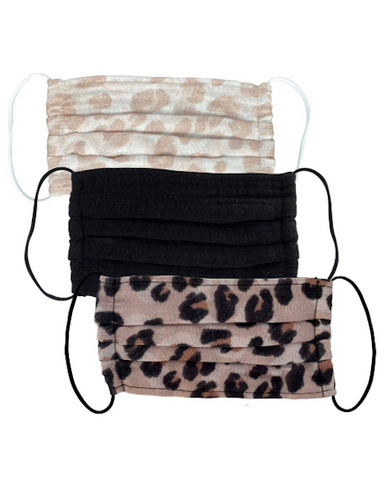 Cotton Mask 3pc Set - Leopard