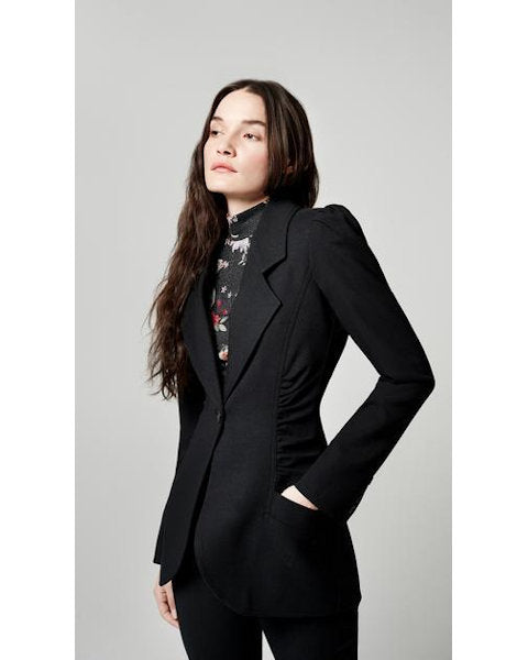Ruched Blazer Black