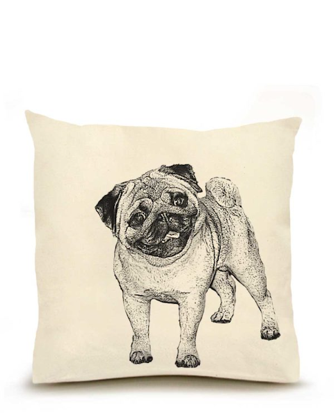 Pug 2 Large Pillow