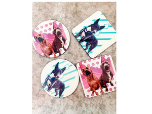 Custom Designed Photo Coasters. Solo or 4 Packs, Tons of shapes!