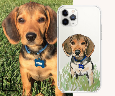 Custom Dog Illustrated Phone Case - Custom Dog Case - Pet Illustration - Pet Drawing - Personalized Pet Case - Pet Memorial - Pet Lover