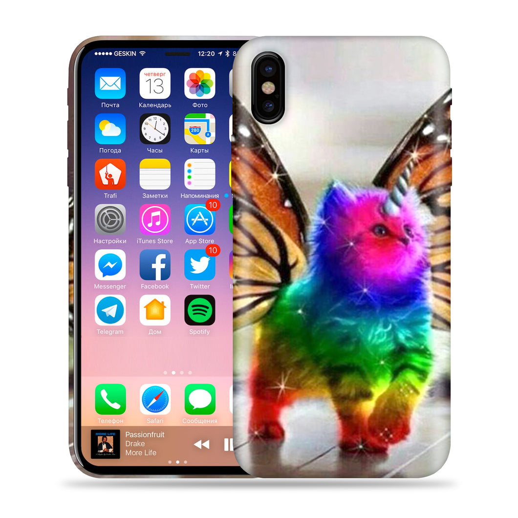 Butterfly Cat Unicorn Design Phone Case