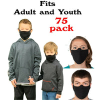 QTY-75 Mask Lightweight SUPER SOFT Fabric Facemask Black cotton Essential Worker