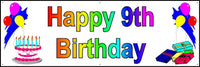 HAPPY 9th BIRTHDAY BANNER 2FT X 6FT NEW LARGER SIZE
