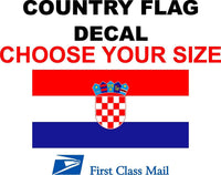 CROATIA COUNTRY FLAG, STICKER, DECAL, 5YR VINYL, Country Flag of Croatia