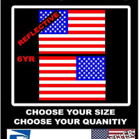 2 REFLECTIVE American Flag USA Mirrored  Vinyl Decals for Boat Truck Car