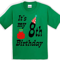 It's my 8th Birthday Shirt with Birthday cake design  - Youth B-Day T-Shirt - JC