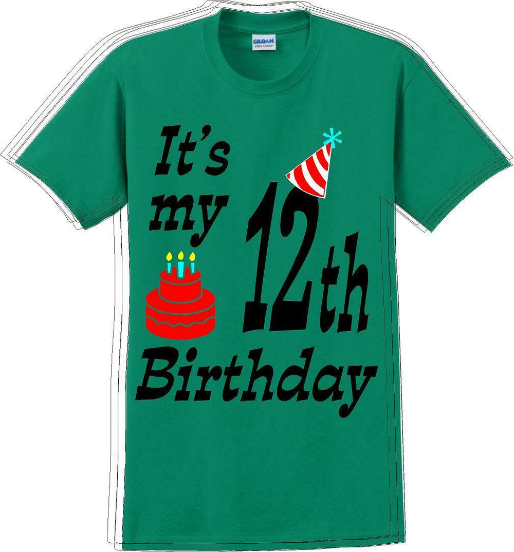 It's my 12th Birthday Shirt with Birthday cake design - Adult B-Day T-Shirt - JC