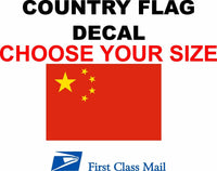 CHINA COUNTRY FLAG, STICKER, DECAL, 5YR VINYL, Country flag of China