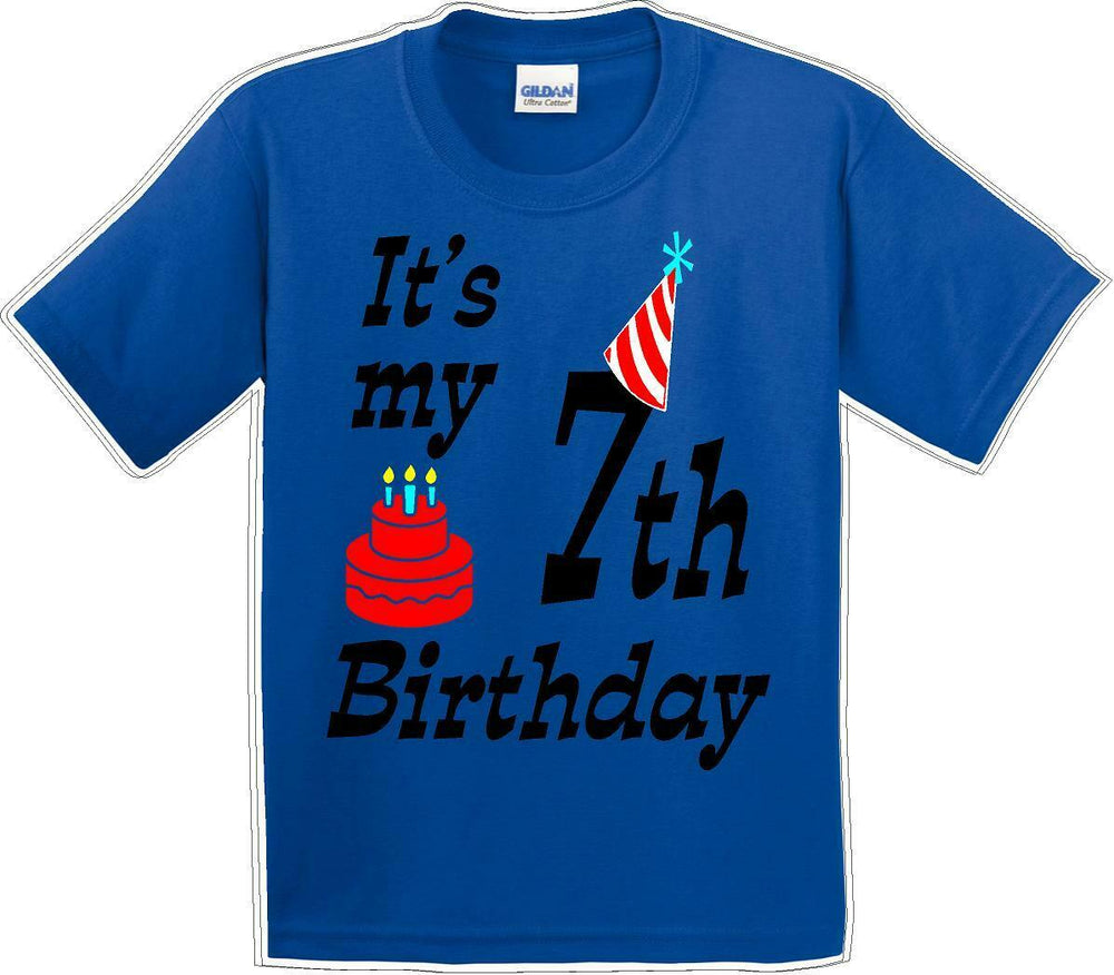 It's my 7th Birthday Shirt with Birthday cake design  - Youth B-Day T-Shirt - JC