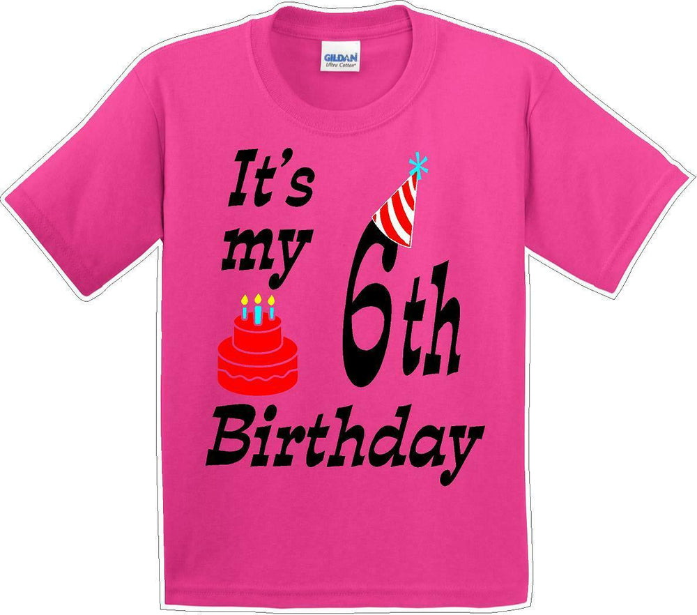 It's my 6th Birthday Shirt with Birthday cake design  - Youth B-Day T-Shirt - JC