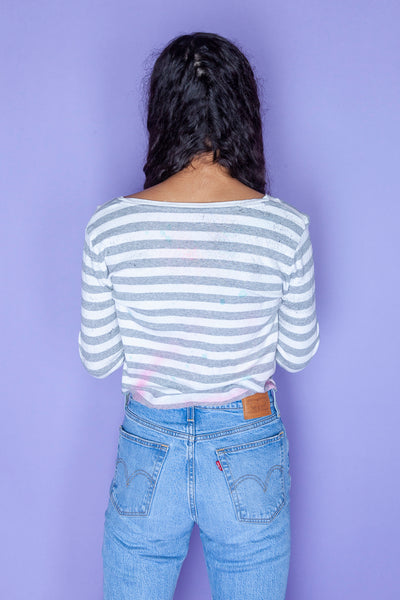 Long-sleeve Striped Crop Top