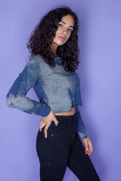 Blue and Grey Long-sleeve Crop Top
