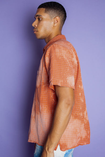 Acid Washed Short Sleeve Button-Up