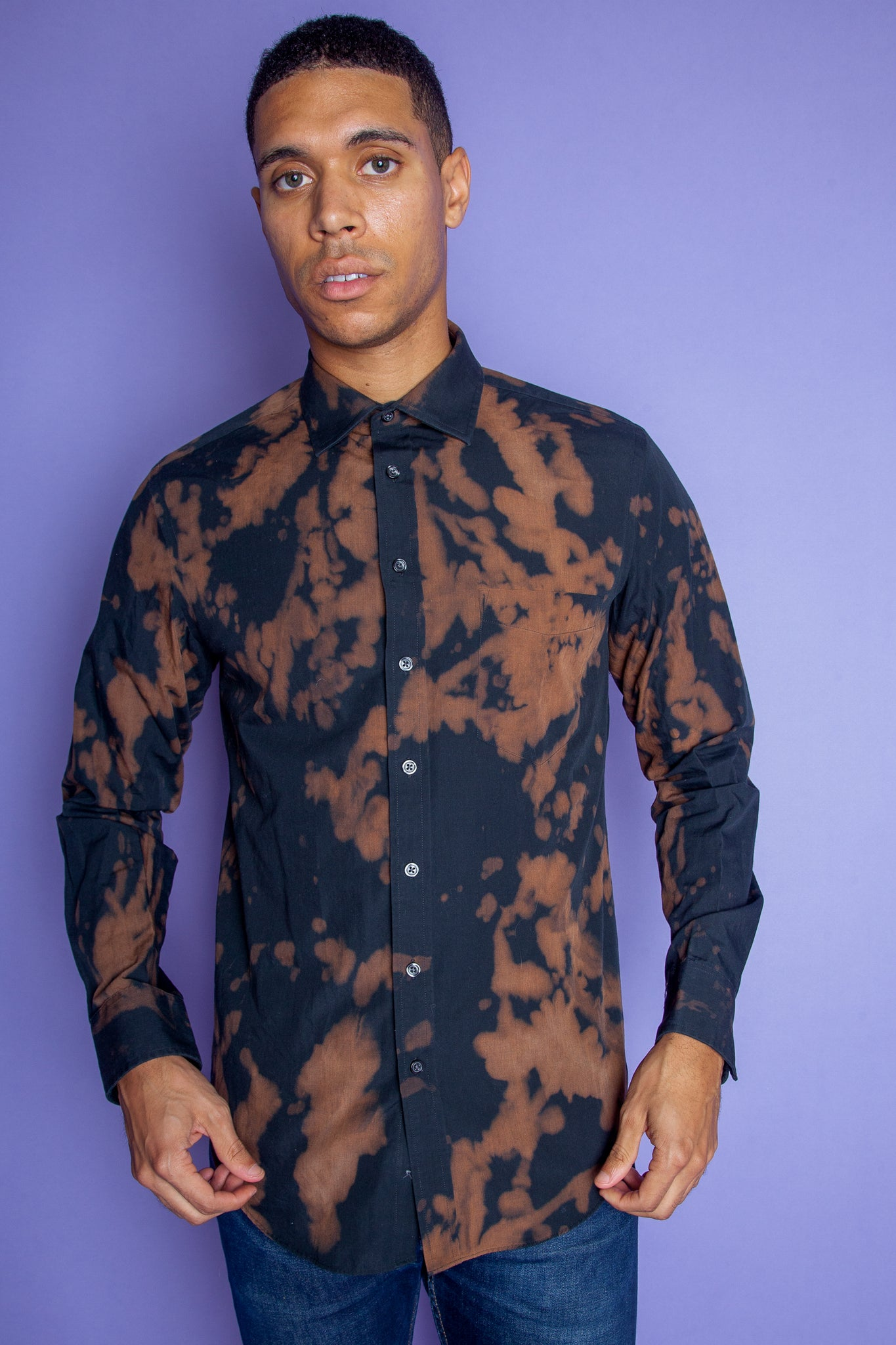 Acid Washed Long Sleeve Button-up