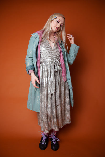 Turquoise Hand-Painted Trench Coat