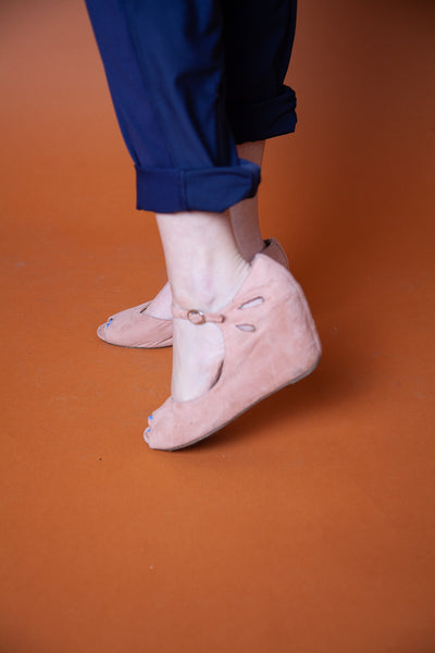 Suede Heels, With Strap and Buckle
