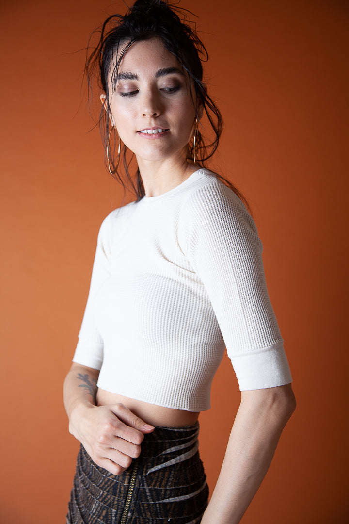 Ribbed White Cropped Shirt