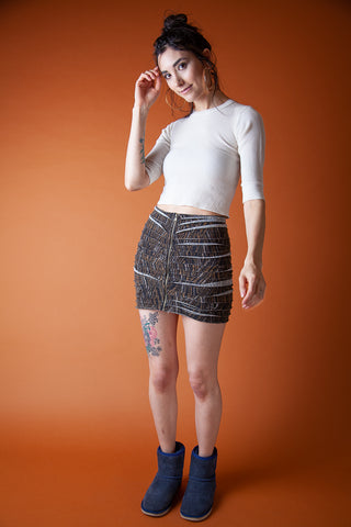 Ripped Mini Skirt with Tiger Print