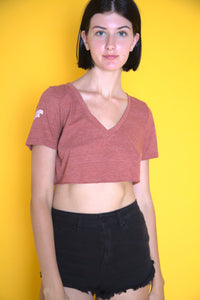 Maroon Cropped V-Neck